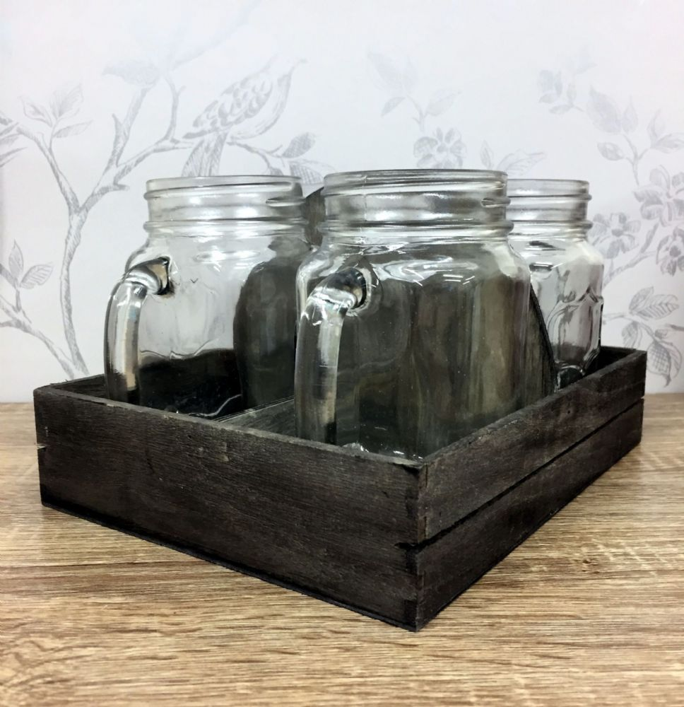 Traditional Glass Mason Jar Mugs & Wood Tray x 4